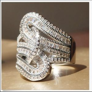 Ring clear crystals, white Stainless steel